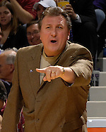 Kansas State head coach yells out some instructions in the first half against Cleveland State at Bramlage Coliseum in Manhattan, Kansas, December 5, 2006.  K-State beat the Vikings 93-60.<br />