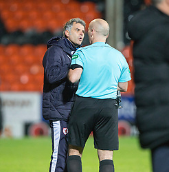 Raith Rovers Daren Jackson and Ref Stephen Finnie. Dundee United 3 v 0 Raith Rovers, Scottish Championship game played 4/2/2017 at Dundee United's stadium Tannadice Park.