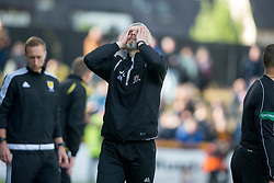 Alloa Athletic's manager Jim Goodwin after another Alloa miss. Alloa Athletic 4 v 3 Brechin City (Brechin won 5-4 on penalties), Ladbrokes Championship Play-Off 2nd Leg at Alloa Athletic's home ground, Recreation Park, Alloa.