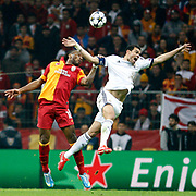 Galatasaray's Tebily Didier Yves Drogba (L) during their UEFA Champions League Quarter-finals, Second leg match Galatasaray between Real Madrid at the TT Arena AliSamiYen Spor Kompleksi in Istanbul, Turkey on Tuesday 09 April 2013. Photo by Aykut AKICI/TURKPIX
