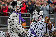 Horses in fancy drees in Piccadilly Circus - The New Years day parade passes through central London form Piccadilly to Whitehall. London 01 Jan 2017