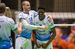 Dennis Borst of Lycurgus, Jerome Cross of Lycurgus in action during the league match between Active Living Orion vs. Amysoft Lycurgus on March 20, 2021 in Doetinchem.