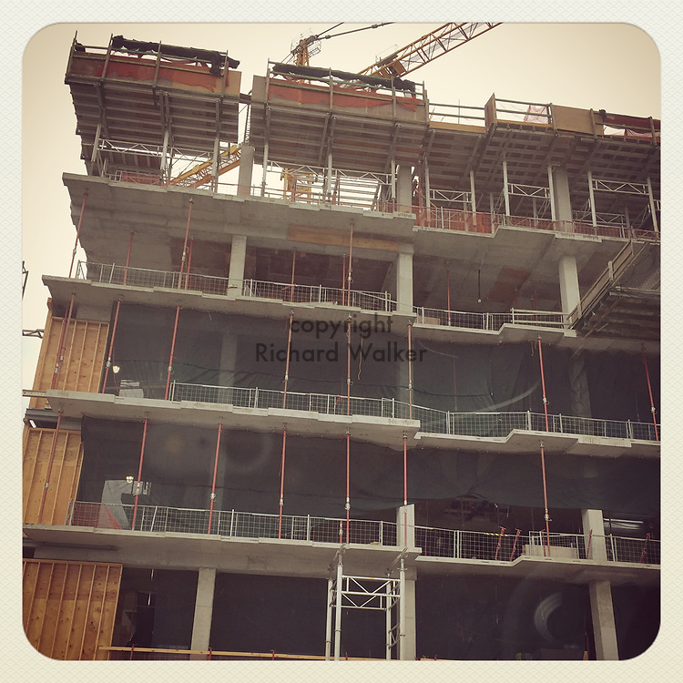 2017 JULY 27 - New building under construction in South Lake Union, Seattle, WA, USA. Taken/edited with Instagram App for iPhone. By Richard Walker