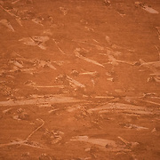 PARIS, FRANCE October 09.  Patterns of feet movement on the clay court surface during the Novak Djokovic of Serbia match against Stefanos Tsitipas of Greece in the Semi Finals of the singles competition on Court Philippe-Chatrier during the French Open Tennis Tournament at Roland Garros on October 9th 2020 in Paris, France. (Photo by Tim Clayton/Corbis via Getty Images)