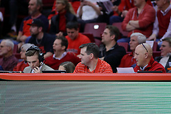 11 February 2017:  Officials Bench during a College MVC (Missouri Valley conference) mens basketball game between the Bradley Braves and Illinois State Redbirds in  Redbird Arena, Normal IL