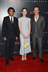 Percelle Ascott, Sorcha Groundsell and Guy Pearce during a screening of of Netflix's The Innocents at the Curzon Mayfair in London. Picture date: Monday August 20th, 2018. Photo credit should read: Matt Crossick/ EMPICS Entertainment.