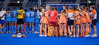 TOKIO - teamhuddle, huddle na  de wedstrijd dames , Nederland-India (5-1) tijdens de Olympische Spelen   .   COPYRIGHT KOEN SUYK