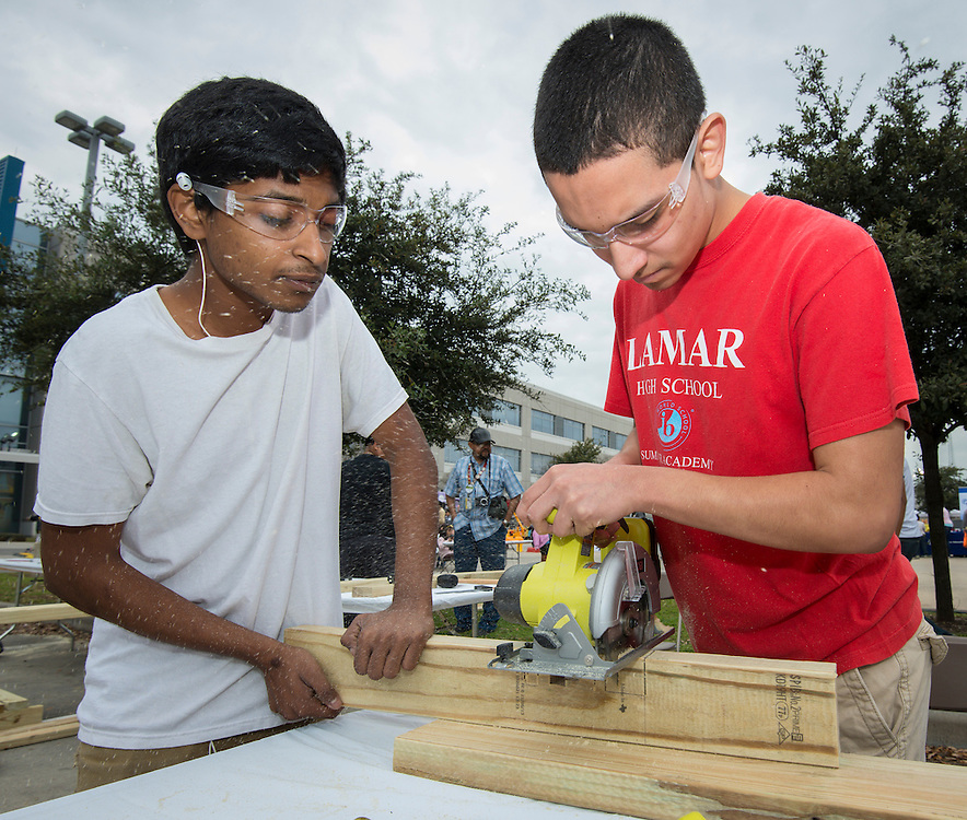 Lamar High School students participate in a building competition at the When I Grow Up fair, March 8, 2014.