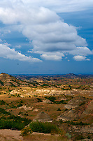 Painted Canyon Panorama. Theodore Roosevelt National Park. Image taken with a Nikon D3 and 85 mm f/2.8 PC-E lens (ISO 200, 85 mm, f/16, 1/40 sec). 3 of 9 images combined with AutoPano Giga and Dehaze Filter.