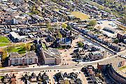 Nederland, Friesland, Gemeente Heerenveen, 01-05-2013; centrum Heerenveen met K. R. Poststraat, kruising met water van Herenwal en Fok, overgaand in Trambaan.<br /> The  center of the city of Heerenveen (Friesland, north Netherlands).<br /> luchtfoto (toeslag op standard tarieven)<br /> aerial photo (additional fee required)<br /> copyright foto/photo Siebe Swart