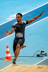 Dudly Boeldak in action on the long jump during AA Drink Dutch Athletics Championship Indoor on 21 February 2021 in Apeldoorn.