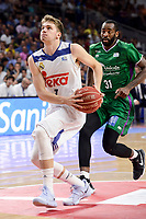 Real Madrid's Luka Doncic and Unicaja Malaga's Christian Eyenga during semi finals of playoff Liga Endesa match between Real Madrid and Unicaja Malaga at Wizink Center in Madrid, June 02, 2017. Spain.<br /> (ALTERPHOTOS/BorjaB.Hojas)