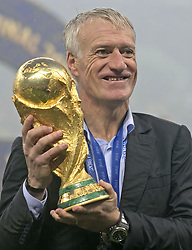 File photo dated 15-07-2018 of France head coach Didier Deschamps with the trophy after his team won the 2018 FIFA World Cup final at the Luzhniki Stadium, Moscow. Issue date: Tuesday June 1, 2021.