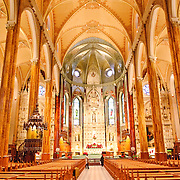 Montreal's Saint Patrick's Basilica. Built by French missionaries in 1947 for the city's Catholic Irish population, it features impressive and extensive use of wood internally.