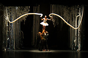 """04/18/13, Montclair, New Jersey.  From left: Estéban Fourmi,   Kai-Wen  Chuang and Luke Burrough from Jasmin Vardimon Company performing """"Freedom"""" at the Peak Performances at Alexander Kasser Theater, Montclair State University.<br /> Ass # 30141268A<br /> Credits: Paula Lobo for The New York Times"""