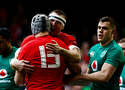 Hadleigh Parkes of Wales celebrates scoring his sides first try<br /> <br /> Photographer Simon King/Replay Images<br /> <br /> Six Nations Round 5 - Wales v Ireland - Saturday 16th March 2019 - Principality Stadium - Cardiff<br /> <br /> World Copyright © Replay Images . All rights reserved. info@replayimages.co.uk - http://replayimages.co.uk