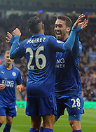 Riyad Mahrez of Leicester city (26) celebrates with team mate Christian Fuchs after he scores his teams 2nd goal to put his side 2-0 up. Premier league match, Leicester City v Watford at the King Power Stadium in Leicester, Leicestershire on Saturday 6th May 2017.<br /> pic by Bradley Collyer, Andrew Orchard sports photography.