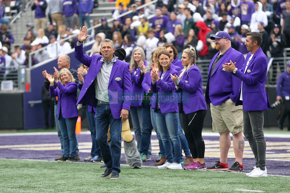 October 20, 2018 - Seattle, WA, U.S. - SEATTLE, WA - OCTOBER 20:  Washington great Mark Brunell waves to fans during the class of 2018 Hall of Fame eduction. Along with Brunell, Chris Gobrecht, Danielle Lawrie, Courtney Thompson, Brandon Roy, Brock Mackenzie, Chad Ward and the 1984-85 Women's Eight-Oared Crews were honoredduring the college football game between the Washington Huskies and the Colorado Buffaloes on October 20, 2018 at Husky Stadium in Seattle, WA.  (Photo by Jesse Beals/Icon Sportswire) (Credit Image: © Jesse Beals/Icon SMI via ZUMA Press)