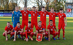 BANGOR, WALES - Saturday, November 17, 2018: Wales players line up for a team group photograph before the UEFA Under-19 Championship 2019 Qualifying Group 4 match between Sweden and Wales at the Nantporth Stadium. Back row L-R: goalkeeper George Ratcliffe, Brandon Cooper, Morgan Boyes, Ben Cabango, Luke Jephcott, Neco Williams. Front row L-R: Daniel Griffiths, Joseph Adams, Dylan Levitt, captain Ryan Reynolds, Brennan Johnson. (Pic by Paul Greenwood/Propaganda)
