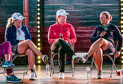 Pictured: Fringe by the Sea, North Berwick, East Lothian, Scotland, United Kingdom, 06 August 2019. Top female golfers competing in the Aberdeen Standard Investments Ladies Scottish Open this week appear on a panel and take questions from the audience, as part of a podcast called On the Dance Floor. Pictured: from L to R Bronte Law (UK), Caroline Masson (Germany), Angela Stanford (USA).<br /> <br /> Sally Anderson | EdinburghElitemedia.co.uk