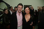 MIKE RUNDELL AND ALISON JACQUES, private view  of new exhibition by Tim Stoner , Alison Jacques Gallery in new premises in Berners St., London, W1 ,Afterwards across the rd. at the Sanderson Hotel. 3 May 2007. DO NOT ARCHIVE-© Copyright Photograph by Dafydd Jones. 248 Clapham Rd. London SW9 0PZ. Tel 0207 820 0771. www.dafjones.com.