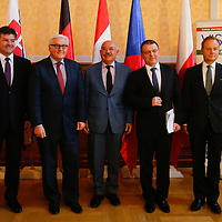 Miroslav Lajcak (L) foreign minister of Slovakia, Frank-Walter Steinmeier (2nd L) foreign minister of Germany, Janos Martonyi (C) foreign minister of Hungary, Lubomir Zaoralek (2nd R) foreign minister of Czech Republic and Artur Nowak-Far (R) foreign minister of Poland pose for a family photo after their meeting in Budapest, Hungary on March 13, 2014. ATTILA VOLGYI