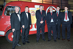 CARDIFF, WALES - Tuesday, October 7, 2008: L-R: Stewart Dobson, Head of Marketing at Brains Beers, BBC's Ray Stubbs, Wales team manager John Toshack and players Carl Robinson, Sam Vokes and Chris Gunter at the FAW Player Awards at the Millennium Stadium. (Photo by David Rawcliffe/Propaganda)