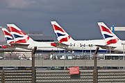British Airways tail fins line up at London Heathrow airport