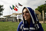 One of Tecnico team players relaxing with her shirt on her head resembling a nun.