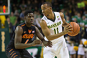 WACO, TX - JANUARY 5: Lester Medford #11 of the Baylor Bears brings the ball up court against the Oklahoma State Cowboys on January 5, 2016 at the Ferrell Center in Waco, Texas.  (Photo by Cooper Neill/Getty Images) *** Local Caption *** Lester Medford