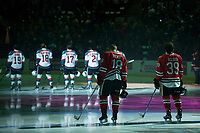 KELOWNA, CANADA - APRIL 8: The Portland Winterhawks line up against the Kelowna Rockets for game 2 of round 2 of WHL playoffs on April 8, 2017 at Prospera Place in Kelowna, British Columbia, Canada.  (Photo by Marissa Baecker/Shoot the Breeze)  *** Local Caption ***