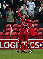 Photo: Andrew Unwin.<br /> Middlesbrough v Tottenham Hotspur. The Barclays Premiership. 18/12/2005.<br /> Middlesbrough's Mark Viduka celebrates James Morrison's goal.