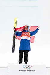February 18, 2018 - Pyeongchang, SOUTH KOREA - 180218 ¯ystein BrÅ'ten of Norway, Gold, celebrates on the podium after the Men's Slopestyle Finale during day nine of the 2018 Winter Olympics on February 18, 2018 in Pyeongchang..Photo: Petter Arvidson / BILDBYRN / kod PA / 91979 (Credit Image: © Petter Arvidson/Bildbyran via ZUMA Press)
