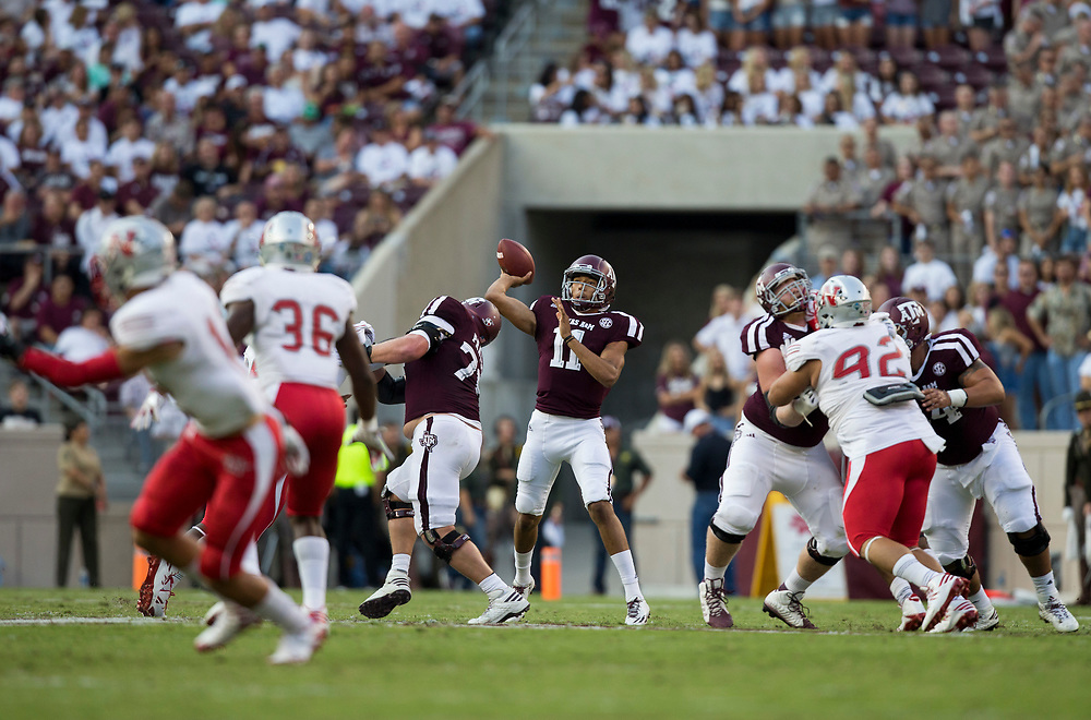 Texas A&M quarterback Kellen Mond (11) attempts to complete a pass downfield against Nicholls State during the first quarter of an NCAA college football game Saturday, Sept. 9, 2017, in College Station, Texas. Texas A&M won 24-14. (AP Photo/Sam Craft)