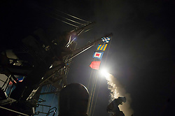 April 7, 2017 - United States - MEDITERRANEAN SEA (April 7, 2017) The guided-missile destroyer USS Ross (DDG 71) fires a tomahawk land attack missile April 7, 2017. USS Ross, an Arleigh Burke-class guided-missile destroyer, forward-deployed to Rota, Spain, is conducting naval operations in the U.S. 6th Fleet area of operations in support of U.S. national security interests in Europe and Africa. (U.S. Navy photo by Mass Communication Specialist 3rd Class Robert S. Price/Released) U.S. Navy/Globallookpress.com (Credit Image: © Russian Look via ZUMA Wire)
