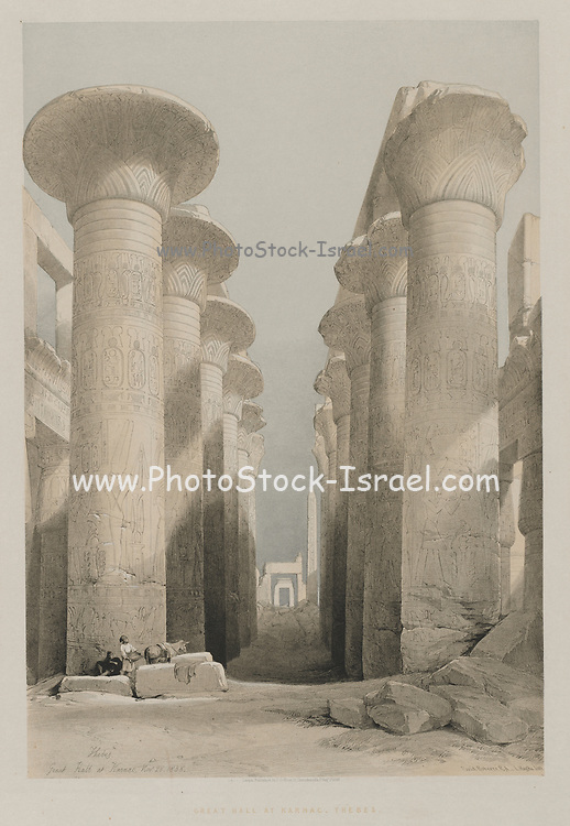 Great Hall at Karnac (Karnak), Egypt from Egypt and Nubia, Volume I: Thebes, Great Hall at Karnac, 1848. Louis Haghe (British, 1806-1885), F.G.Moon, 20 Threadneedle Street, London, after David Roberts (British, 1796-1864). Color lithograph; sheet: 60.3 x 42.8 cm (23 3/4 x 16 7/8 in.); image: 48 x 32.7 cm (18 7/8 x 12 7/8 in.).