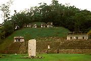 MEXICO, MAYAN CULTURE, CHIAPAS STATE Bonampak, stela 1 with temples beyond