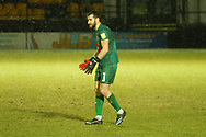 Harrogate Towns James Belshaw during the EFL Sky Bet League 2 match between Harrogate Town and Exeter City at the EnviroVent Stadium, Harrogate, United Kingdom on 19 January 2021.