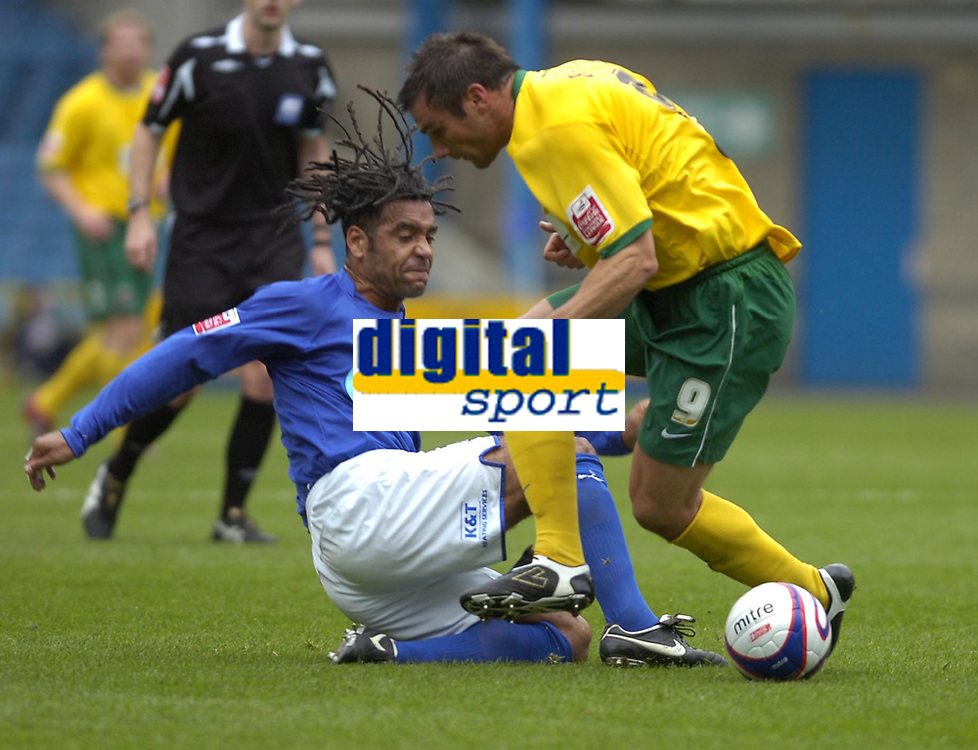 Photo: Matt Bright/Sportsbeat Images.<br /> Millwall v Hartlepool United. Coca Cola League 1. 03/11/2007.<br /> Richard Barker of Hartlepool is tackled by  Richard Shaw of Milwall