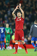 Dejan Lovren of Liverpool applauds the fans after the game. Premier League match, Liverpool v Leicester City at the Anfield stadium in Liverpool, Merseyside on Saturday 30th December 2017.<br /> pic by Chris Stading, Andrew Orchard sports photography.