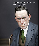 """Vintage Mugshots in colour<br /> <br /> William Munro - September 1924<br /> <br /> """"Charged with receiving stolen goods to the value of 536 pounds 4 shillings and 1 penny, the property of Snow's department store.""""<br /> ©Frédéric DurIiez/Exclusivepix Media"""