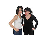 frightened girlfriends On white Background