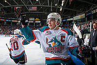 KELOWNA, CANADA - FEBRUARY 13: Team captain, Rodney Southam #17 of the Kelowna Rockets high fives from the bench after the rockets score a first period goal against the Seattle Thunderbirds on February 13, 2017 at Prospera Place in Kelowna, British Columbia, Canada.  (Photo by Marissa Baecker/Shoot the Breeze)  *** Local Caption ***