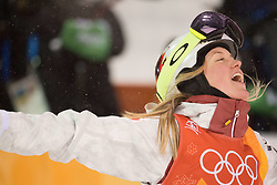 February 11, 2018 - Pyeongchang, South Korea - JUSTINE DUFOUR-LAPOINTE of Canada celebrates at the finish line after winning the silver medal at the Womens Moguls finals Sunday, February 11, 2018 at Phoenix Snow Park at the Pyeongchang Winter Olympic Games. (Credit Image: © Mark Reis via ZUMA Wire)