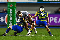 Piula Faasalele of Toulouse is tackled by Matthew Rees of Cardiff Blues - Mandatory by-line: Craig Thomas/JMP - 14/01/2018 - RUGBY - BT Sport Cardiff Arms Park - Cardiff, Wales - Cardiff Blues v Toulouse - European Rugby Challenge Cup