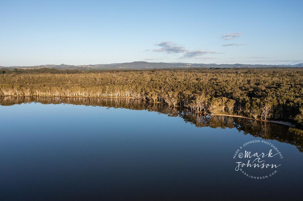 Aerial view of Lake Cootharaba, Boreen Point, Sunshine Coast, Queensland, Australia