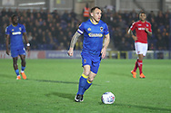 AFC Wimbledon defender Barry Fuller (2) dribbling during the EFL Sky Bet League 1 match between AFC Wimbledon and Charlton Athletic at the Cherry Red Records Stadium, Kingston, England on 10 April 2018. Picture by Matthew Redman.