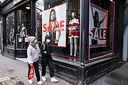 Face masks outside the Ann Summers shop sale in Soho as the national coronavirus lockdown three continues on 29th January 2021 in London, United Kingdom. Following the surge in cases over the Winter including a new UK variant of Covid-19, this nationwide lockdown advises all citizens to follow the message to stay at home, protect the NHS and save lives.