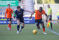 Falkirk's Lewis Kidd and Dundee United's Yannick Loemba. Falkirk 0 v 2 Dundee United, Scottish Championship game played 22/9/2018 at The Falkirk Stadium.