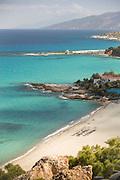 High angle view of sandy Gialiskari beach and tranquil blue Aegean Sea, Ikaria, Greece